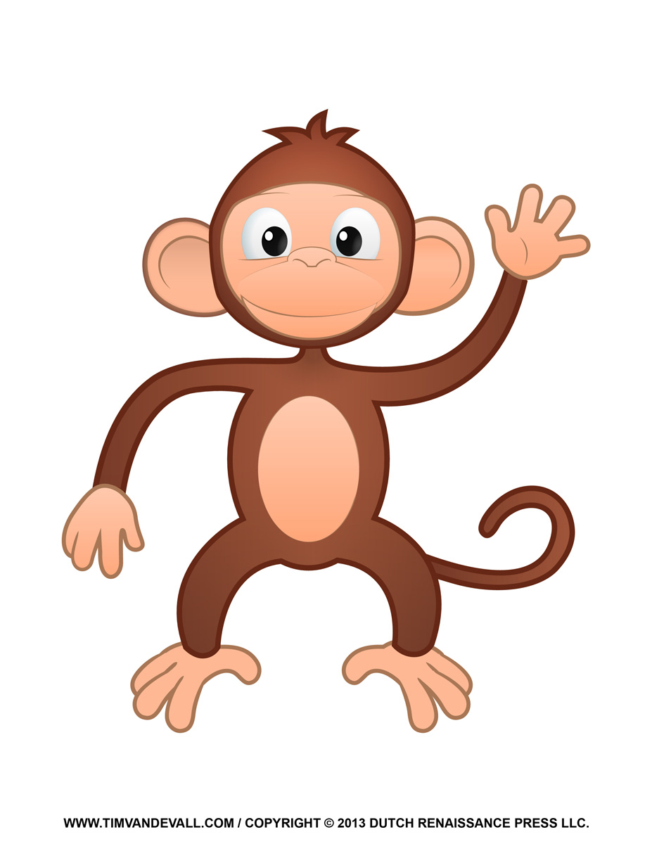 Printable monkey coloring pages. Ape clipart kid