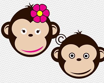 Monkey face svg etsy. Ape clipart kid