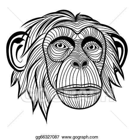 Vector monkey chimpanzee head. Ape clipart monket