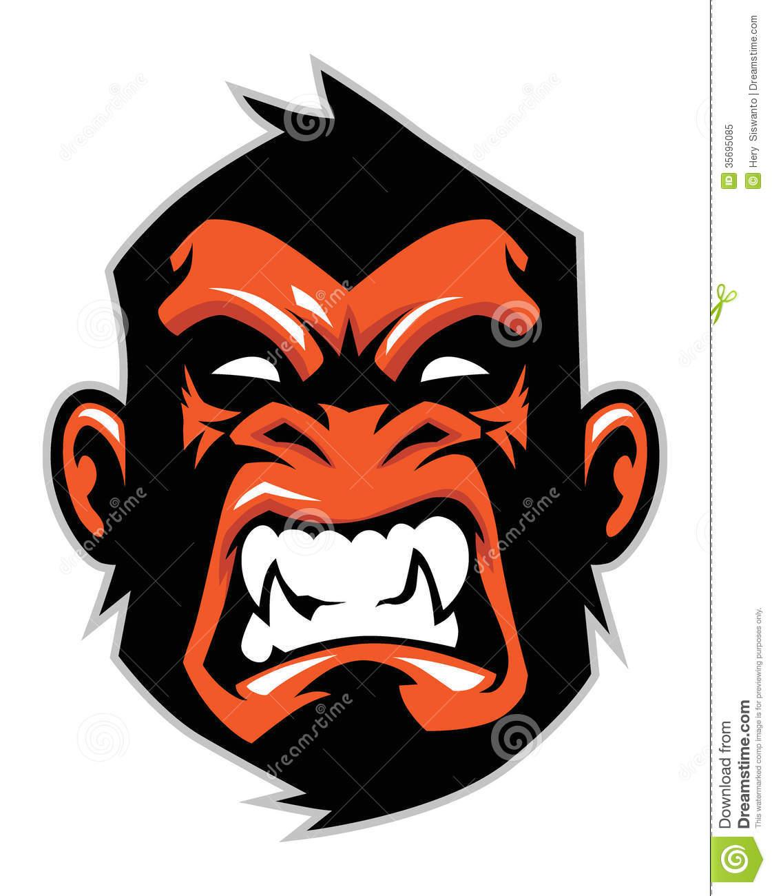 Monkey head drawing at. Bigfoot clipart angry ape