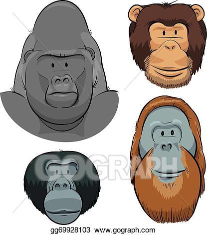 Ape clipart orangutan. Vector great faces illustration