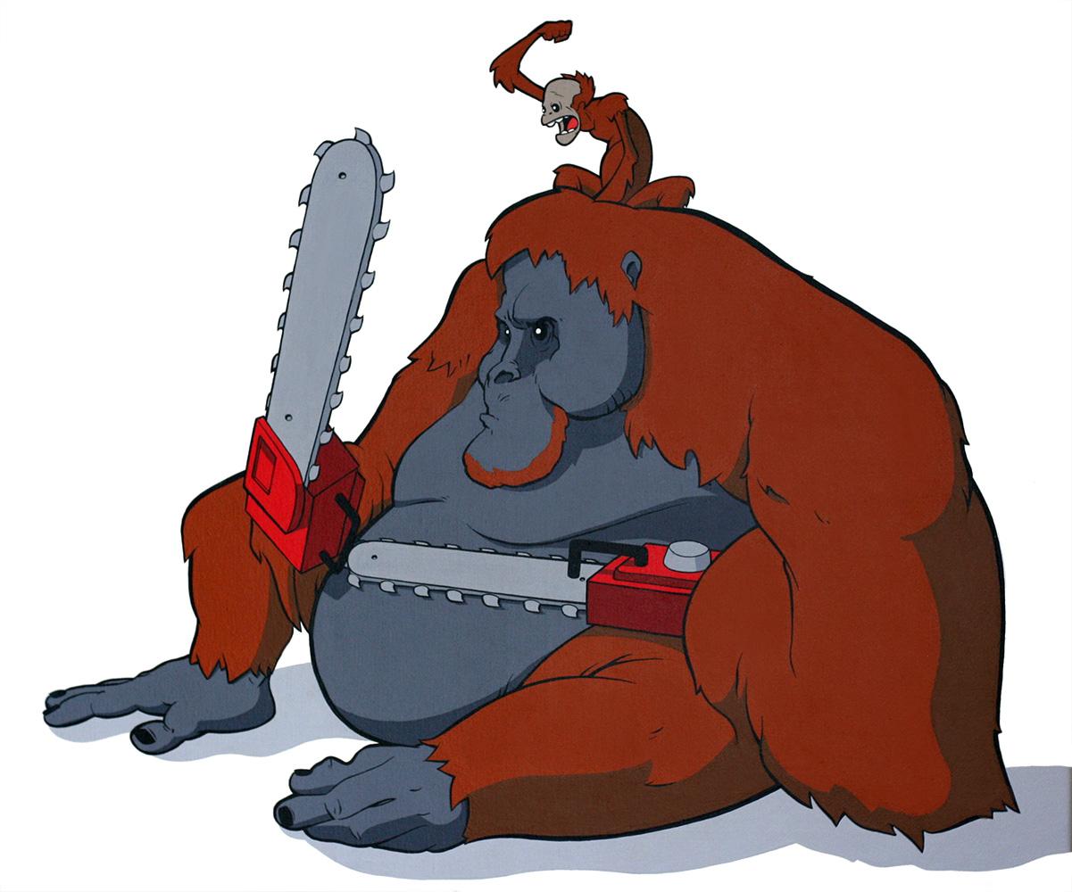 Chainsaw animals pause designs. Ape clipart orangutan