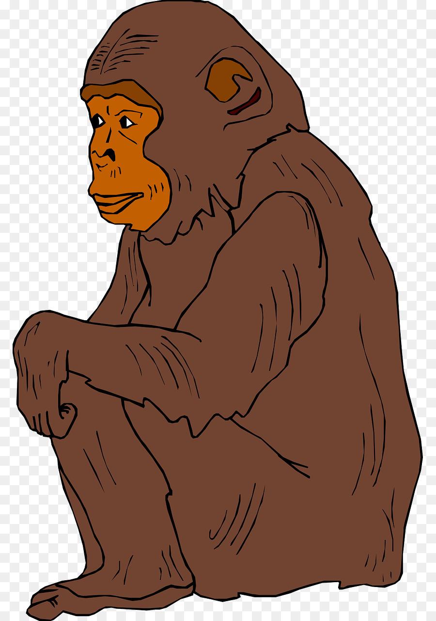 Chimpanzee clip art brown. Ape clipart orangutan