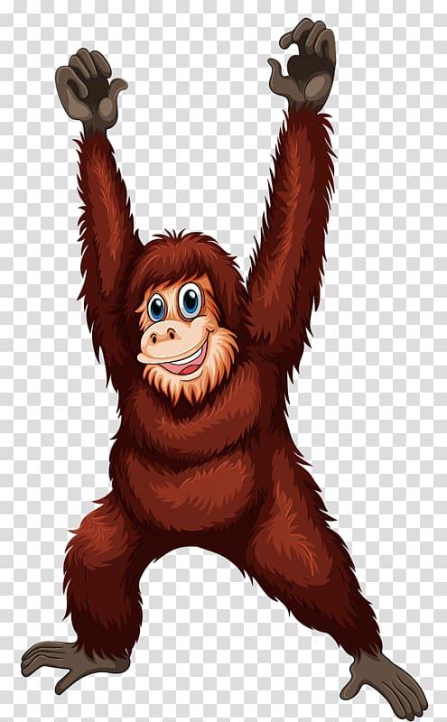 Cartoon gorilla transparent background. Ape clipart orangutan