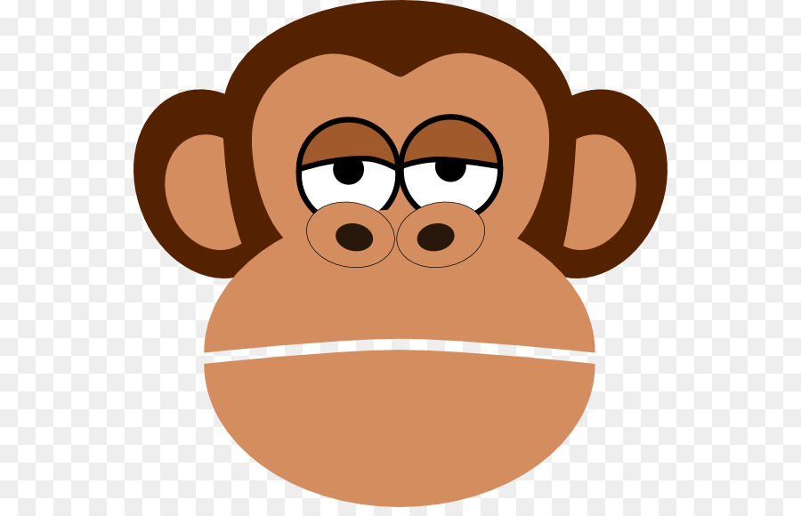 Monkey cartoon face drawing. Ape clipart sad