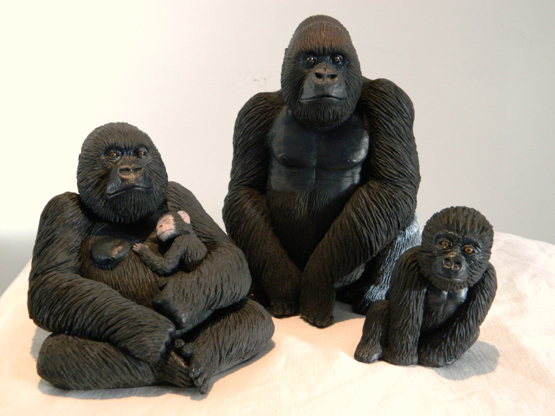 Set of three sculptures. Ape clipart silverback gorilla