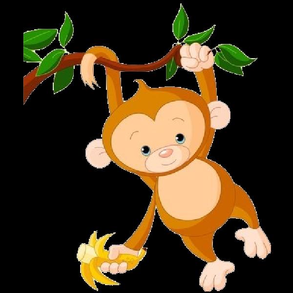 Cute funny cartoon baby. Hand clipart monkey