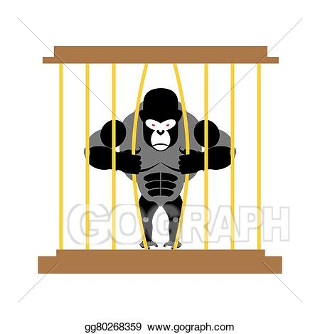 Vector art gorilla in. Cage clipart cartoon