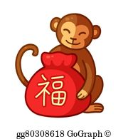 Ape clipart year monkey. Eps vector chinese new