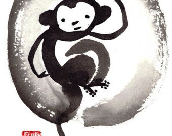Ape clipart year monkey. Zen chinese zodiac of