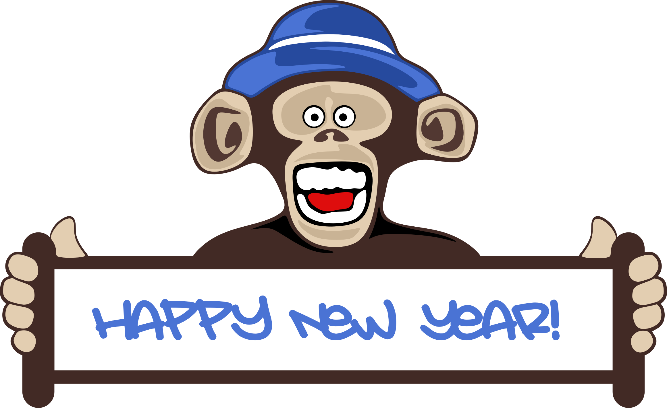 Essay clipart animated. Happy new year monkey