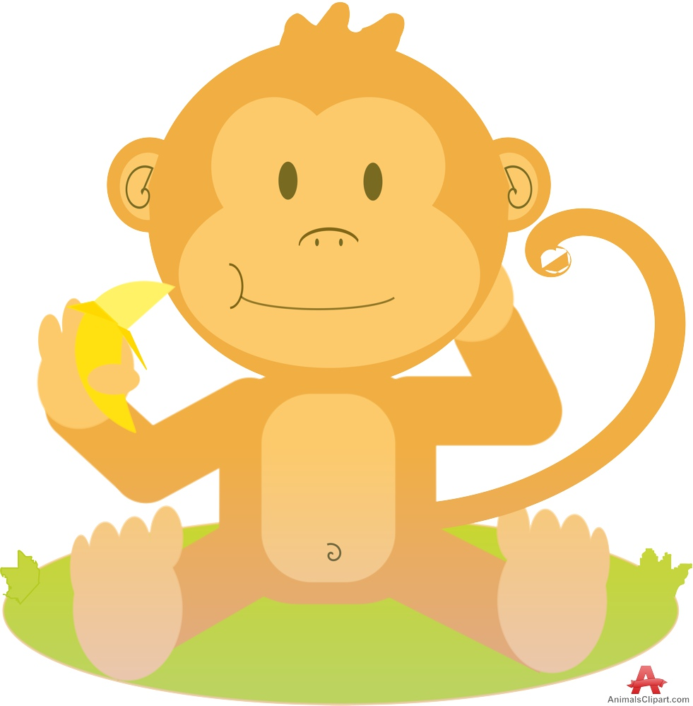 Sitting monkey with banana. Ape clipart yellow