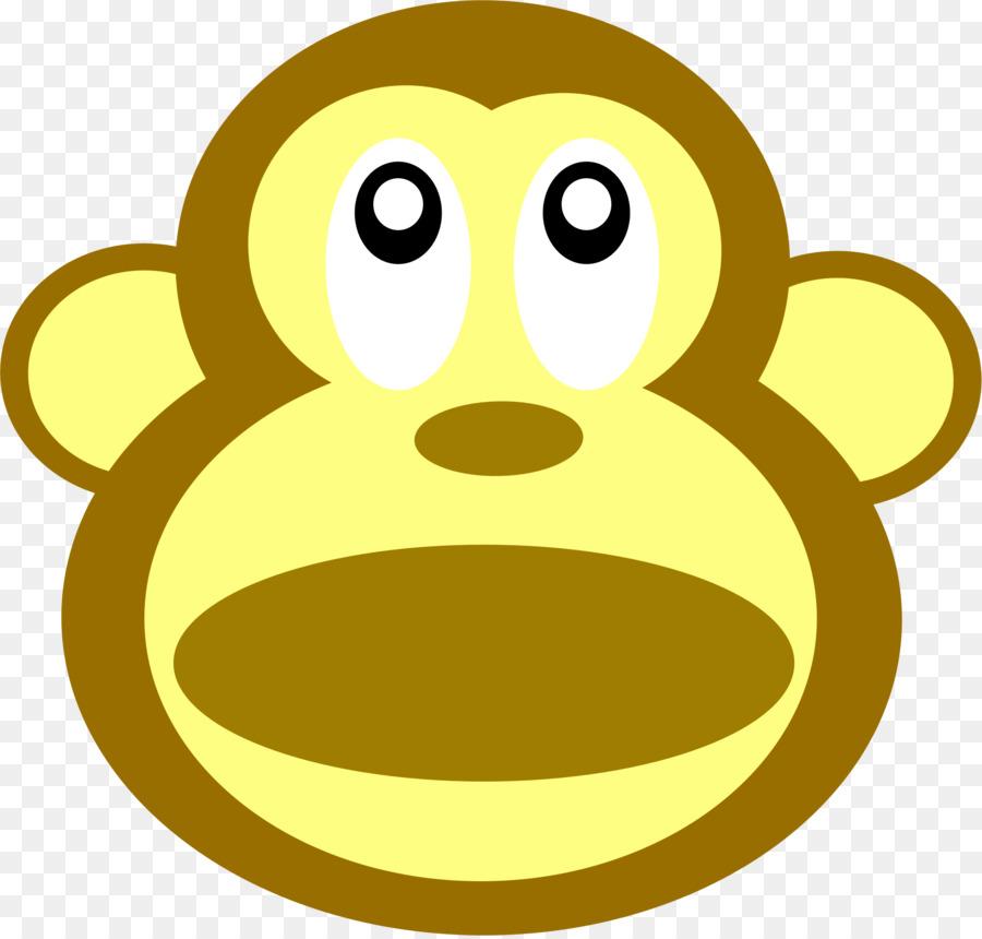 Ape clipart yellow. Monkey cartoon smiley transparent