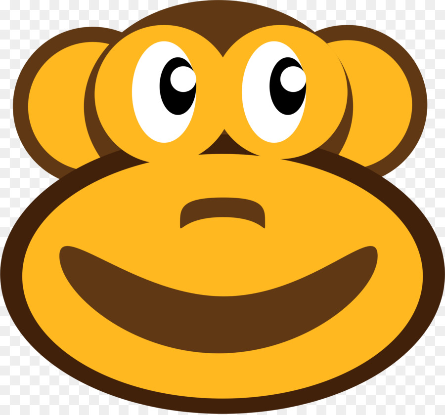 Monkey cartoon smiley transparent. Ape clipart yellow
