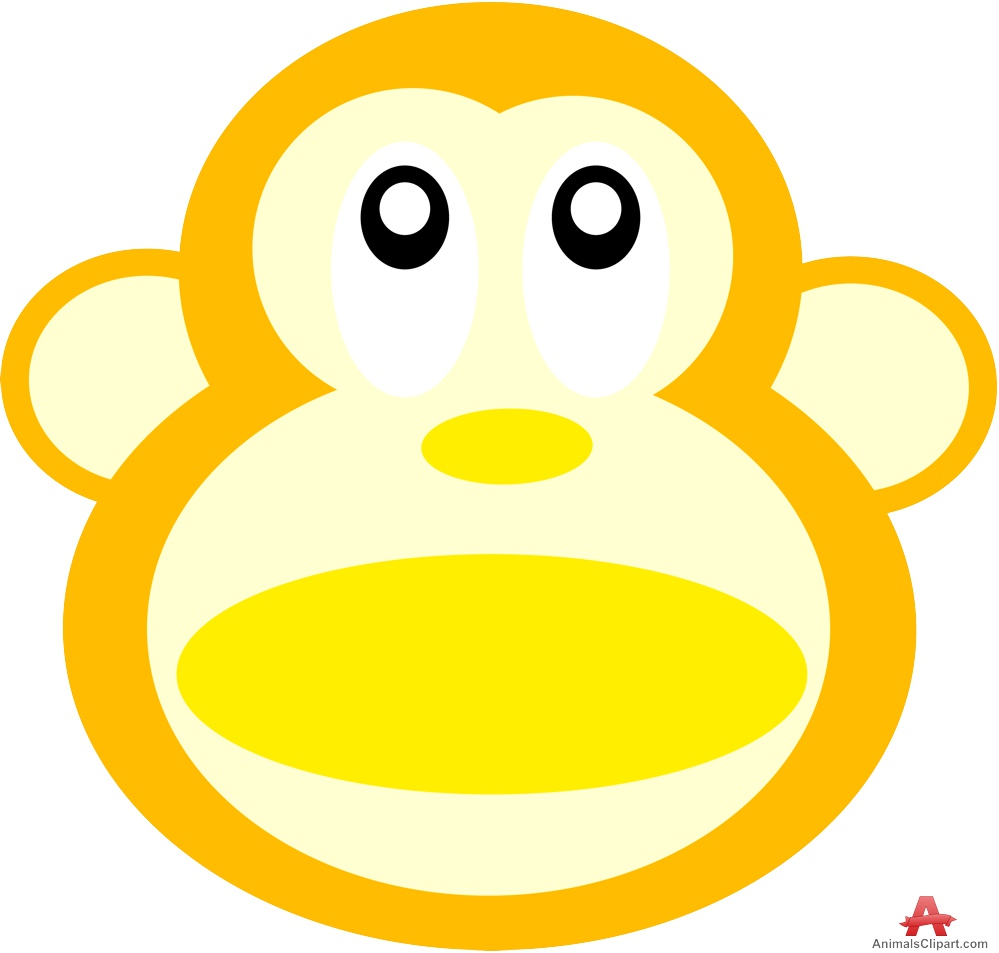 Orange and monkey head. Ape clipart yellow