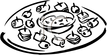 A platter of finger. Appetizers clipart