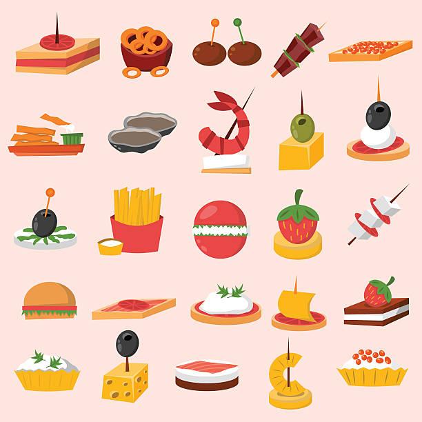 Appetizers clipart appitizer. Canape snacks appetizer vector
