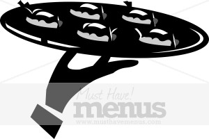 Tray of appetizers. Catering clipart black and white
