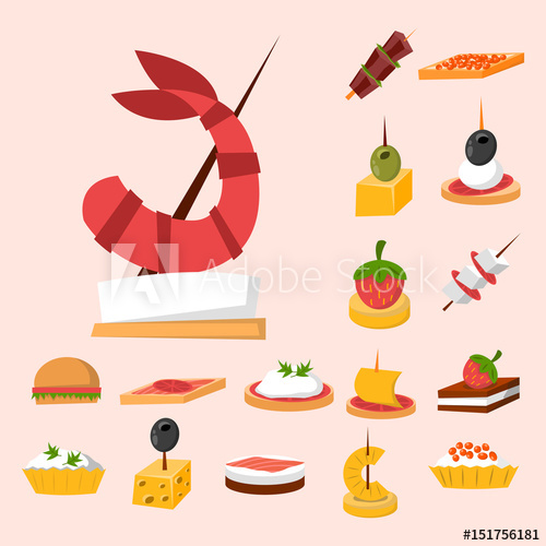 Various meat fish cheese. Appetizers clipart canape