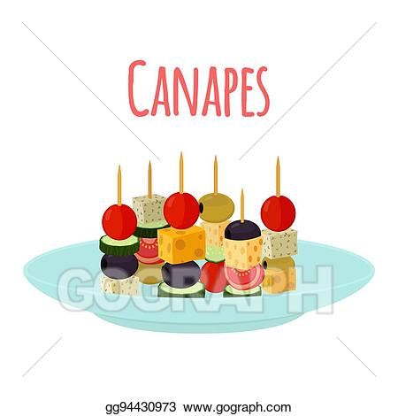 Eps vector canapes tapas. Appetizers clipart canape