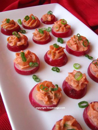 Radish smoked salmon mousse. Appetizers clipart canape