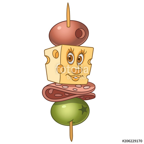 Appetizers clipart canape. With salami cheese and