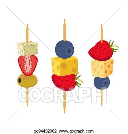 Appetizers clipart cartoon. Vector art fruit berries
