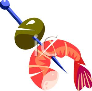 Shrimp and olive appetizer. Appetizers clipart cartoon
