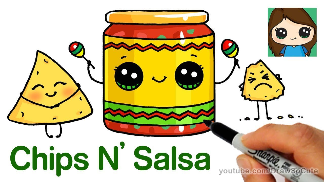 How to draw chips. Appetizers clipart chip guacamole