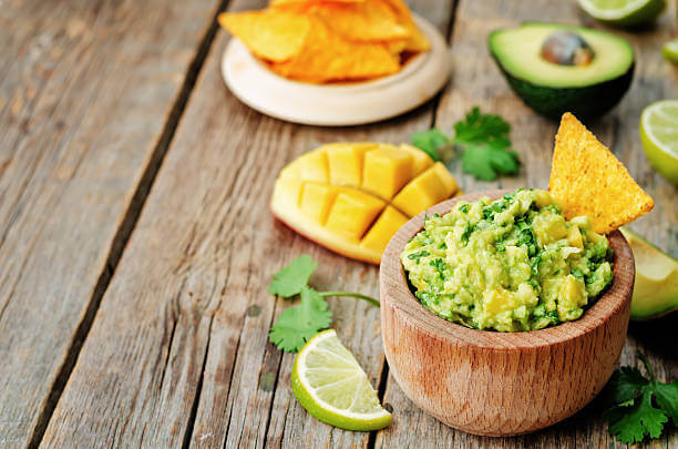 Appetizers clipart chip guacamole. Appetizing mango with corn