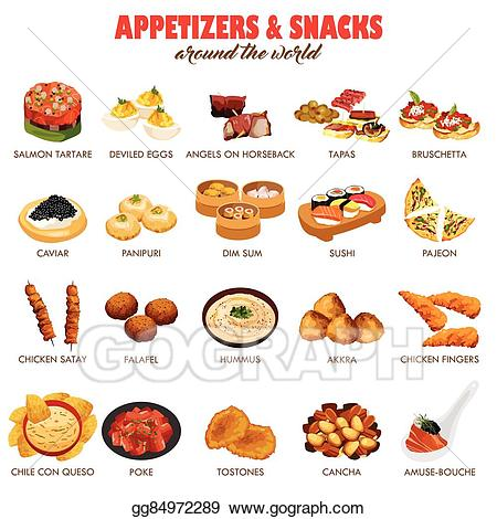 Eps illustration and snacks. Appetizers clipart clip art