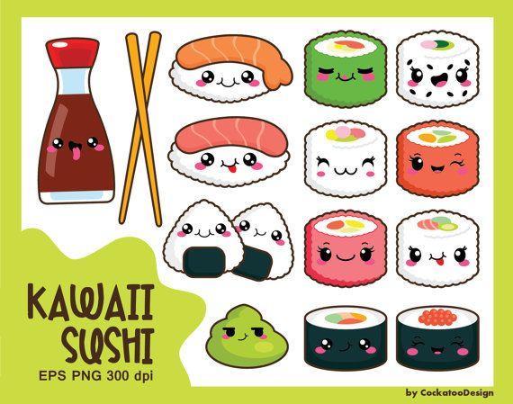 Appetizers clipart drawing. Kawaii clip art sushi