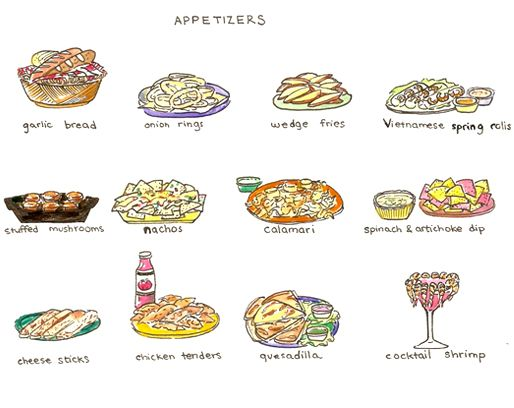 Appetizers clipart drawing. Illustrated menus bread food