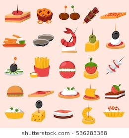 Canape snacks appetizer vector. Appetizers clipart finger food