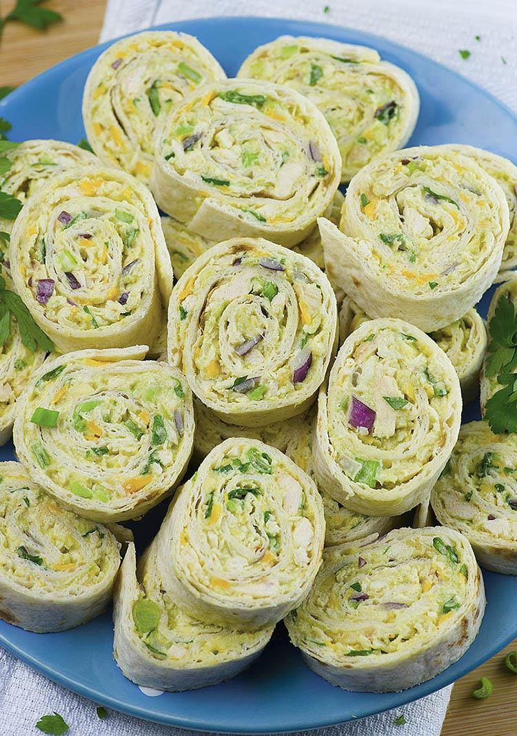 Chicken avocado salad roll. Appetizers clipart finger food
