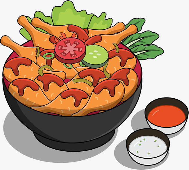 A bowl of wings. Appetizers clipart fried chicken wing