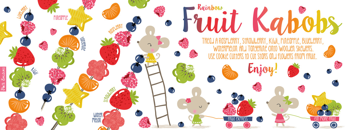 Appetizers clipart fruit skewer. Rainbow kabobs by puck