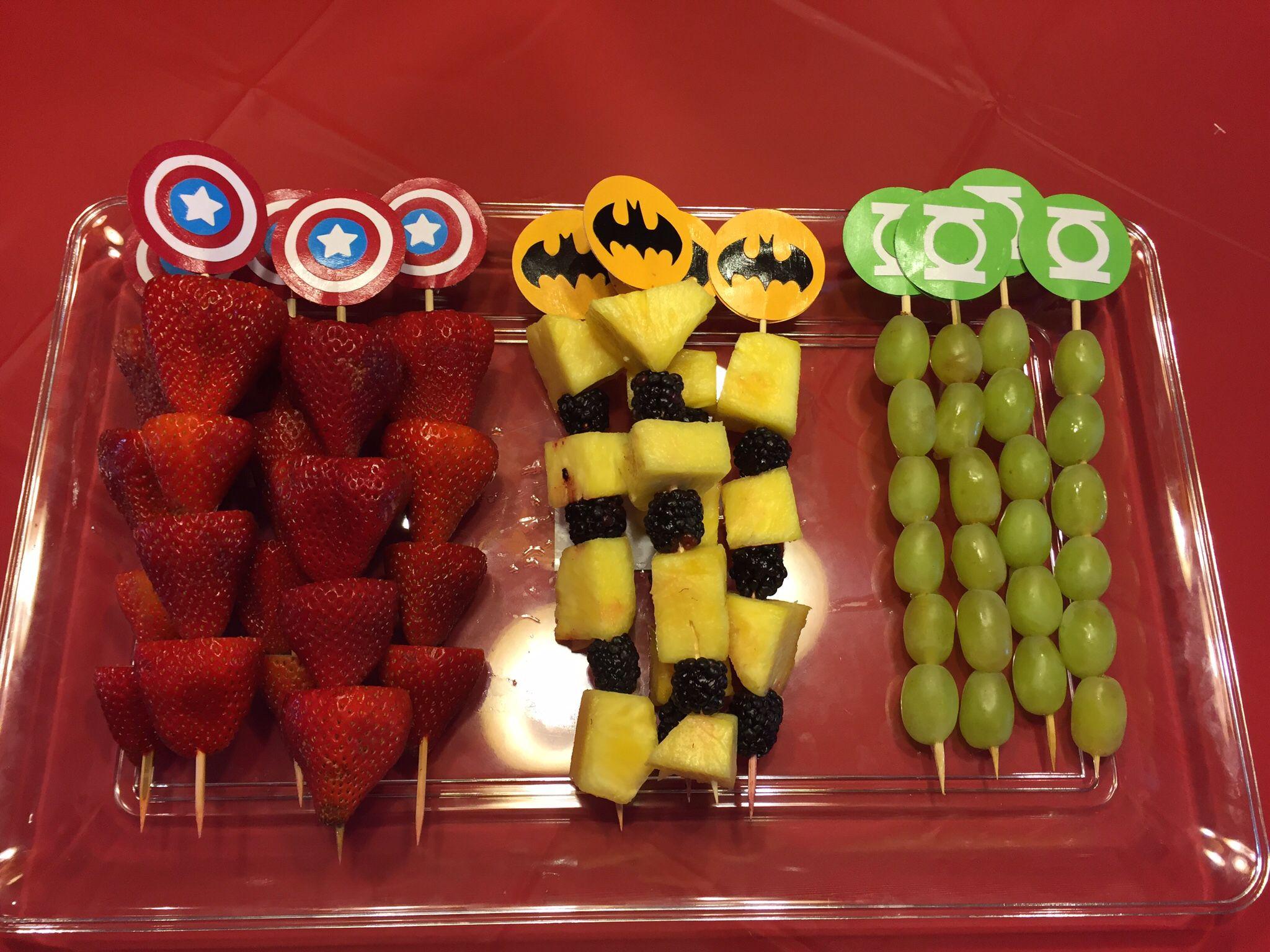 Kabobs superhero party super. Appetizers clipart fruit skewer