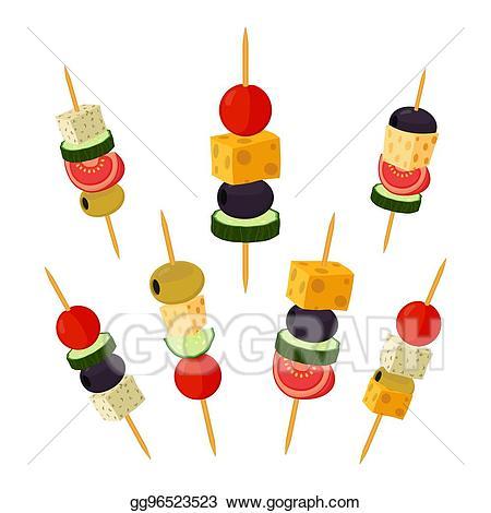 Eps illustration canapes tapas. Appetizers clipart fruit skewer