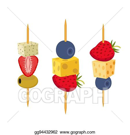 Appetizers clipart fruit skewer. Vector art berries canapes