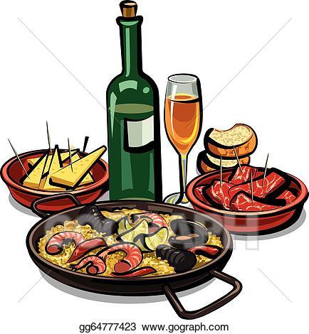 Appetizers clipart gourmet food. Vector art spanish cousine