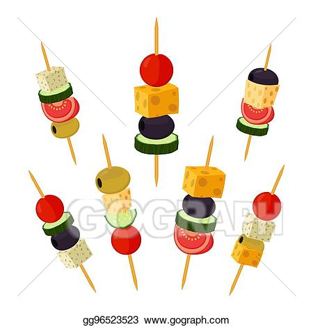 Appetizers clipart gourmet meal. Eps illustration canapes tapas