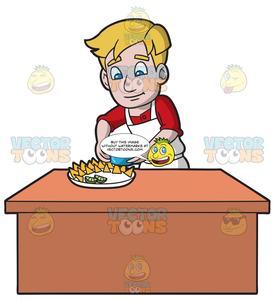Nacho clipart plate. A man putting bowl