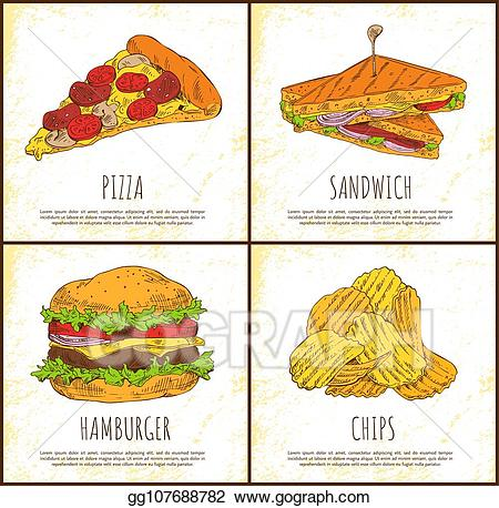Vector sandwich hamburger and. Chips clipart pizza