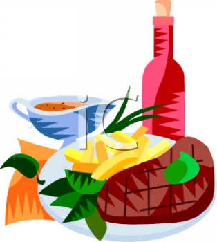 Appetizers clipart wine. Steak dinner with image