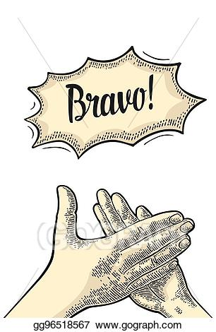 Vector illustration man clapping. Applause clipart applause sign