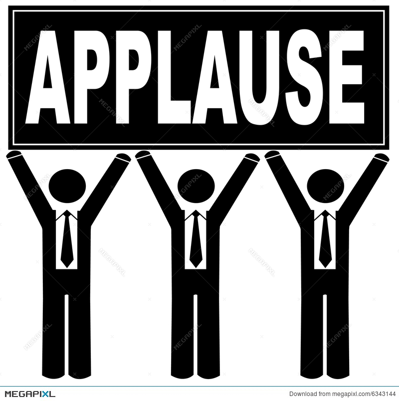 Team holding sign illustration. Applause clipart appreciation