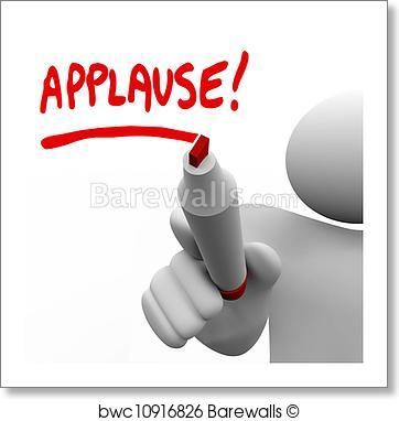 Art print of word. Applause clipart appreciation