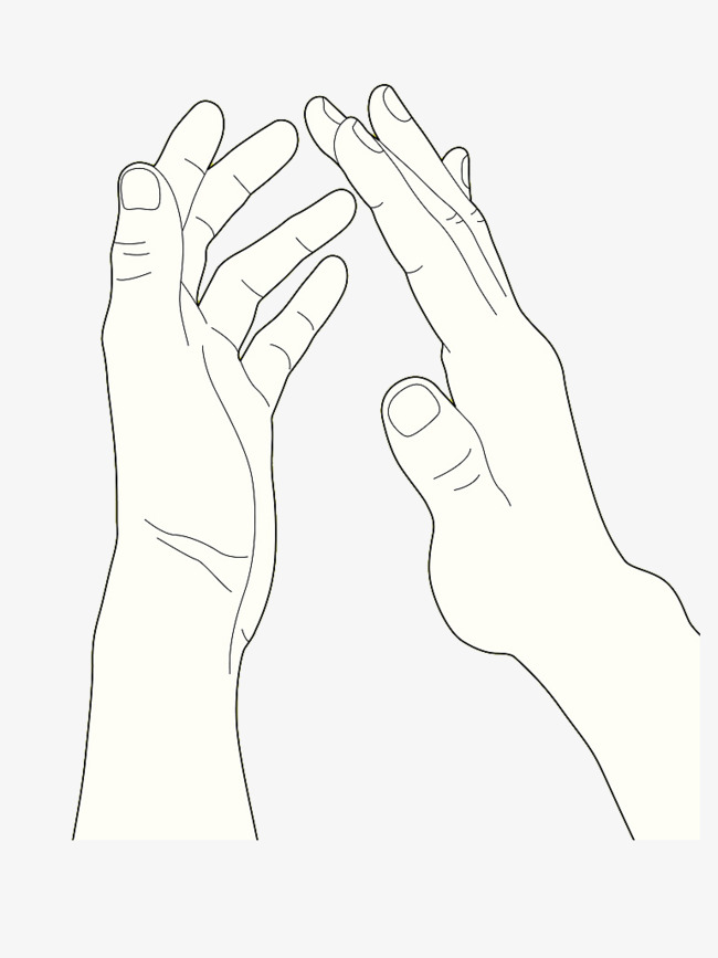 Single handed hand clapping. Applause clipart black and white