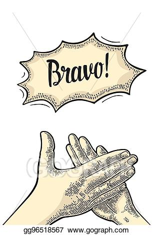 Vector illustration man clapping. Applause clipart clap